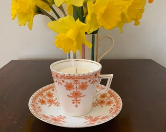 Staffordshire England antique c1880 orange and white bone china tea cup and saucer with lavender and geranium oil scented soy wax candle