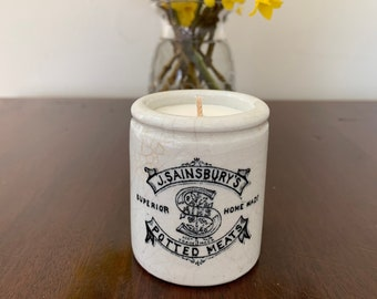 Sainsbury's, England antique c1880 miniature stoneware pot or jar 'Potted Meats' with lavender and geranium oil scented soy wax candle