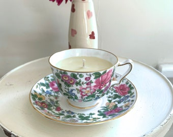 Crown, England c1945 pink green gold fine bone china teacup saucer Thousand Flowers pattern with orange grapefruit patchouli soy wax candle