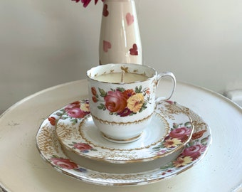 Radfords, England vintage c1950 pink bone china teacup saucer plate trio hand painted in floral pattern with citrus and patchouli soy candle