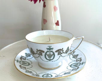 Minton, England vintage green white gold fine bone china teacup saucer Adam pattern with orange grapefruit patchouli scented soy wax candle