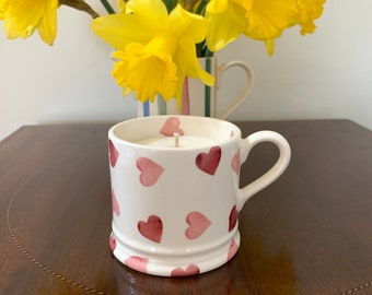 Emma Bridgewater, England first quality small china mug in 'Pink Hearts' pattern with lavender geranium essential oil scented soy wax candle
