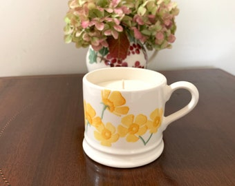 Emma Bridgewater, England first quality small china mug in ,Buttercup, pattern with orange and geranium essential oil scented soy wax candle