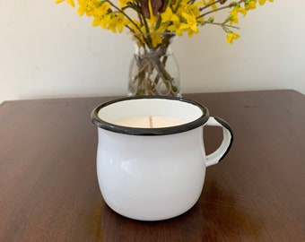 Polish vintage c1970 hand painted black and white enamel mug in chic design with petrulli and orange essential oil scented soy wax candle