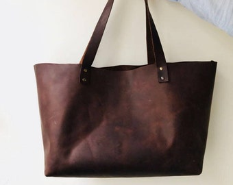 Brown Leather Tote Bag - Kaf Leather