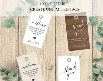 100% EDITABLE Gift Tags, Calligraphy Script Favor Tags, Custom Gift Tags, printable Gift Tags, Custom Wedding Favor Tag, Shower Thank You C8