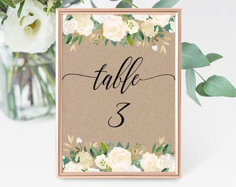 Kraft Table Numbers Template,  White Ivory Floral Table Numbers Card,  Rustic Tented Number Card, Kraft, Instant Download, Printable, F6