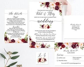 c3a704f0f4a Rustic Marsala and Blush Floral Wedding Invitation Set