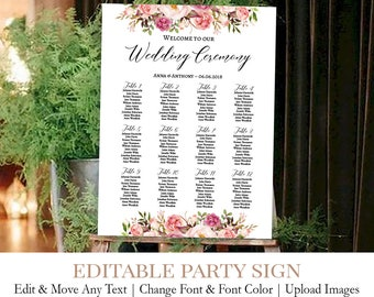 editable wood wedding table seating chart printable wooden etsy