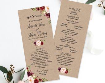 burgundy floral order of ceremony template kraft marsala floral order of service wedding ceremony program digital printable editable fl1