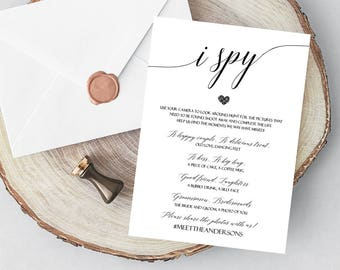 100% CUSTOM Printable Wedding I Spy Game Cards, I spy wedding game editable, Printable I Spy, Wedding Day Games, Wedding Reception Games, C8