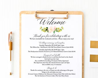 editable wedding agenda wedding welcome letter welcome letter template floral wedding itinerary template printable instant download f2