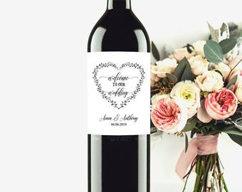 100% EDITABLE Wine Label Template, Custom Wine Bottle Labels, Welcome To Our Wedding Wine Label, Wine Label Printable, Wedding Printable, C6
