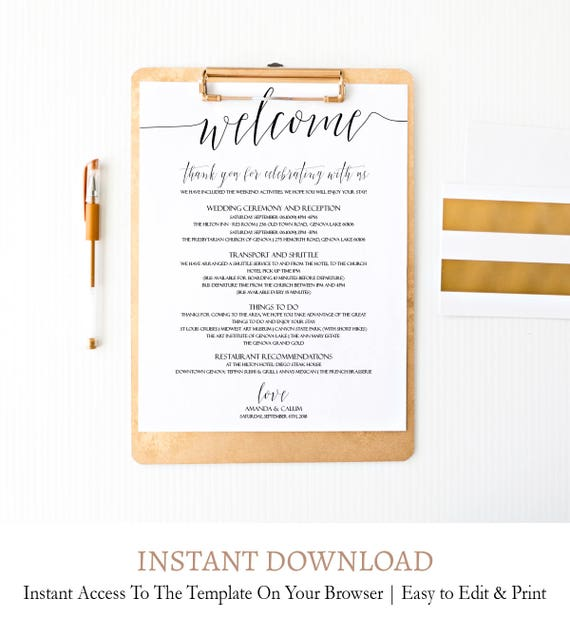 Elegant Script Wedding Welcome Note Script Calligraphy Wedding Welcome Letter Wedding Thank You Letter Template Editable Custom Diy C1