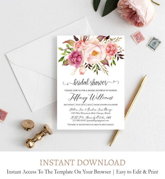 Watercolor Peony Bridal Shower Invitations Floral Coed Bridal Etsy