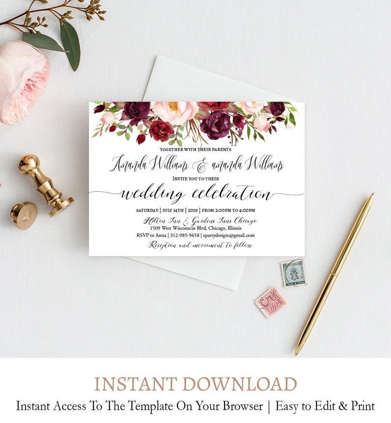 Editable Burgundy Flowers Wedding Invitation Suite Fall Flowers Wedding Invitation Download detail FL1 Digital Template Printable rsvp