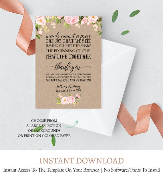 Kraft Wedding Itinerary Template Floral Printable Wedding Itinerary Printable Rustic Thank You Bag Note Wedding Thank You Pdf Diy F1