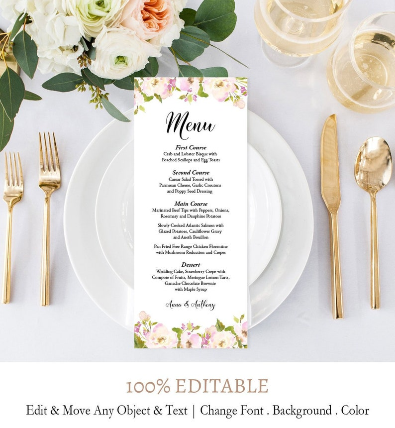 Floral Tea Length Printable Menu Instant Download Editable Text Printable Reception Menu Card DIY Wedding Menu Card Template Digital F5