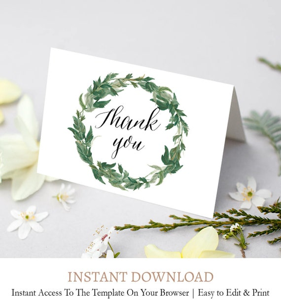 Kraft Thank You Card Wreath Thank You Template Wreath Thank You Rustic Wedding Thank You Note Editable Instant Download Folded C2