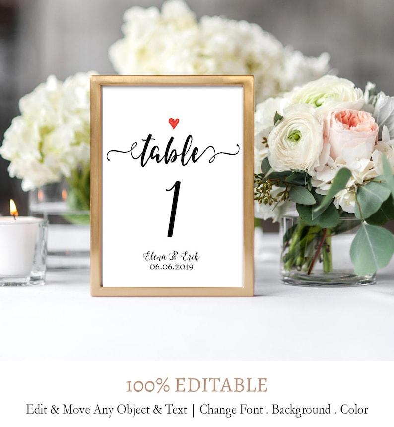Editable Numbers C7 Calligraphy Script Wedding Table Number Template DIY Table Numbers Template Handwritten Script Wedding Table Numbers