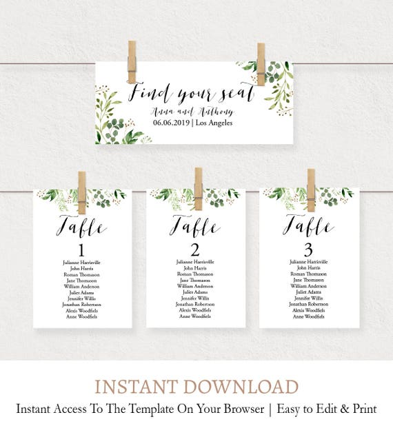 Foliage Editable Seating Cards Template Botanical Wedding Seating Cards Seating Chart Cards Printable Table Cards Wedding Printable L4