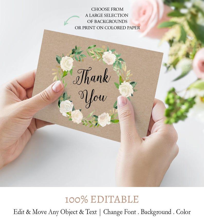 elegant flowers thank you card elegant script thank you  etsy