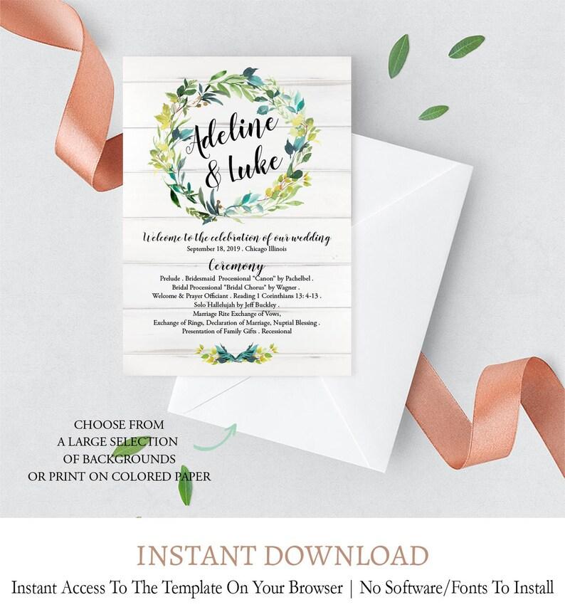 Custom Wedding Fans Editable Wooden Rustic Wedding Fan Program Wood Wedding Fan Program Template L2 digital printable pdf template