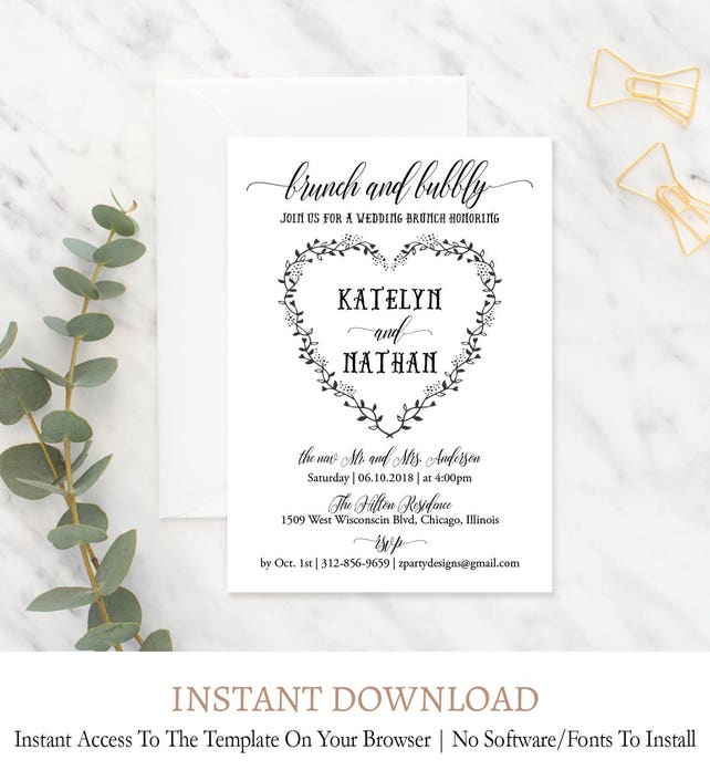 brunch bubbly invitations bridesmaids brunch invitation etsy