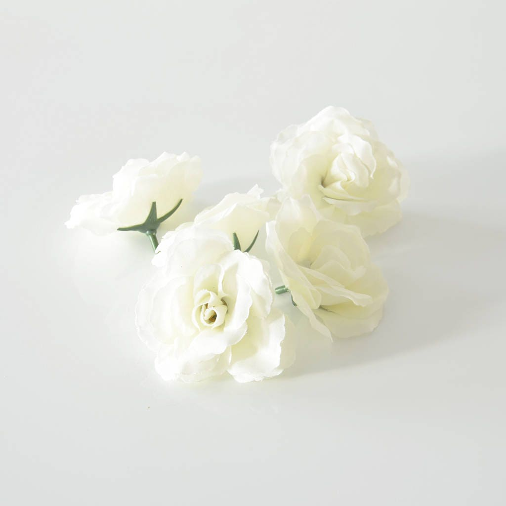 5pcs White Rose Artificial Flower Decorative Flowers Fabric Etsy