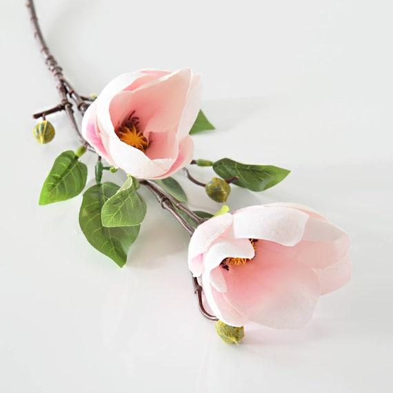 Artificial flowers magnolia silk flower stem fake flower etsy image 0 mightylinksfo