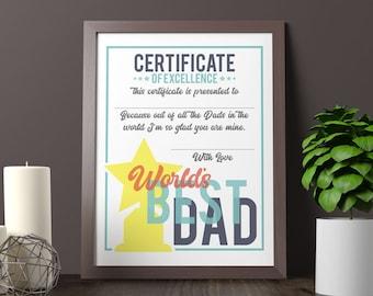 best dad certificate etsy