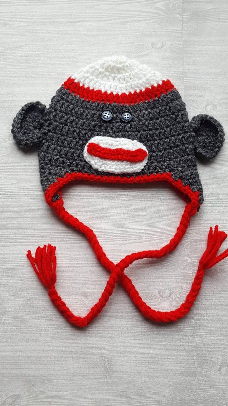 Crochet Sock Monkey Hat Crochet Sock Monkey Crochet Baby Etsy