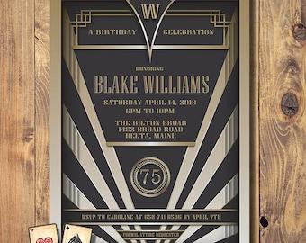 Gatsby Invitation, Art Deco Birthday, Roaring 20s Party, Engagement Announcement, Printable Modern Invite