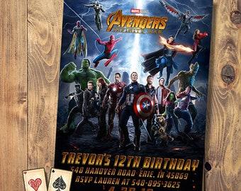 Infinity Wars Invitation War Party Avengers Birthday Superhero Marvel Movie Printable Digital