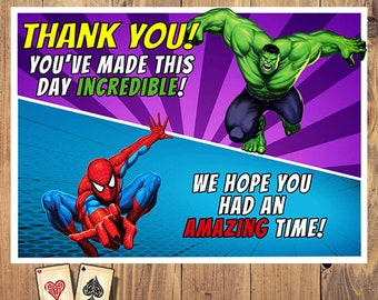 Calling All Heroes Custom Thank You Cards Superhero Party Printable Avengers Card Digital Justice League Birthday