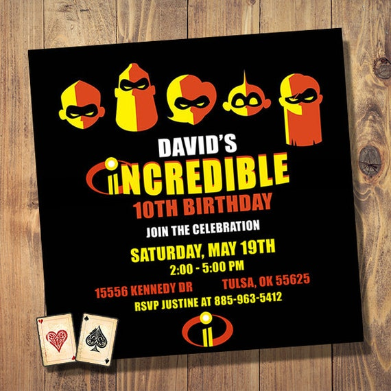 Incredibles 2 Birthday Invitation Party
