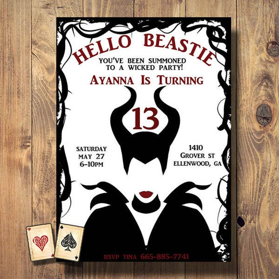 maleficent disney magical magic party invitation evite etsy