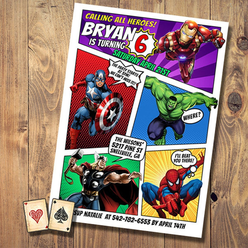 Calling All Avengers Comic Invitation Birthday