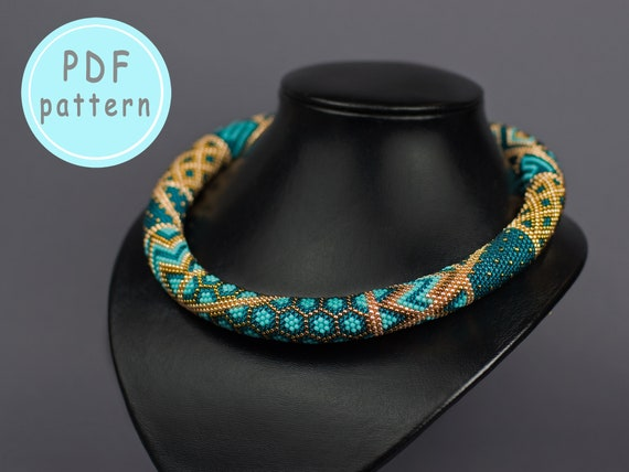 Pdf Pattern Bead Crochet Pattern Jewelry Patterns Beaded Rope Etsy