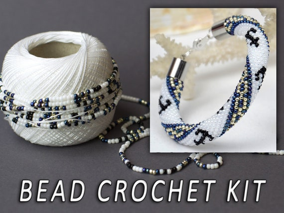 Jewelry Making Kit Anchor Bracelet Bead Crochet Kit Adult Etsy