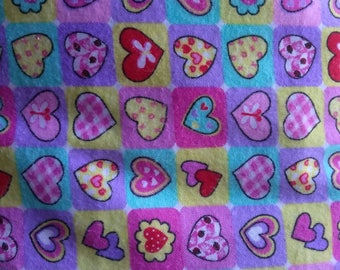 Flannel fabric by the yard - Sweet Hearts