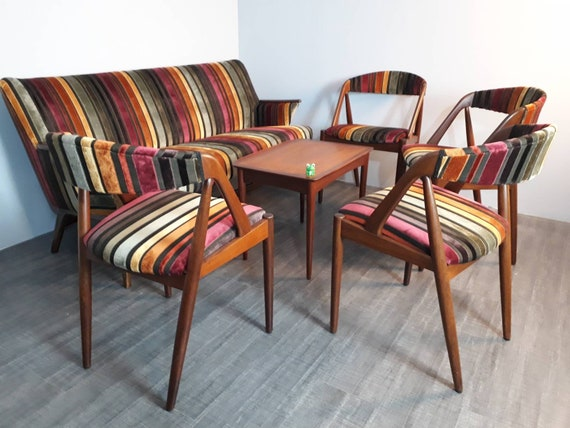 Tremendous Set Of Living Room Sofa And 4 Chairs In Teak And Mid Century Scandinavian 1950S 60S Fabric Uwap Interior Chair Design Uwaporg