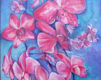 Pink Orchids 01 original acrylic Painting