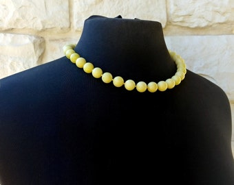 Vibrant Lemon Jade Centerpiece Plump Necklace Mod Chic Lime Green Yellow Genuine Gemstones for Her@ IndigoLayne