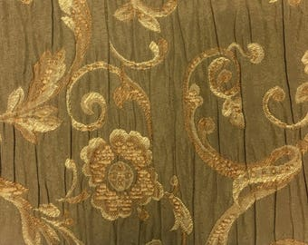 RM Coco Floral Brown and Tan Ruched Upholstery Weight Luxury Lot of Remnant Fabrics