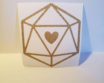 D20 Heart Decal | Gold Glitter | D&D Decal | Vinyl Decal