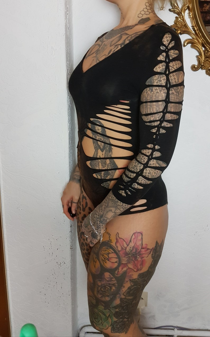 SMeter bodysuit body leotard black red cutouts cut out goa pixie braided pilates psy burning man cosplay lacing tattoo knotted destroy
