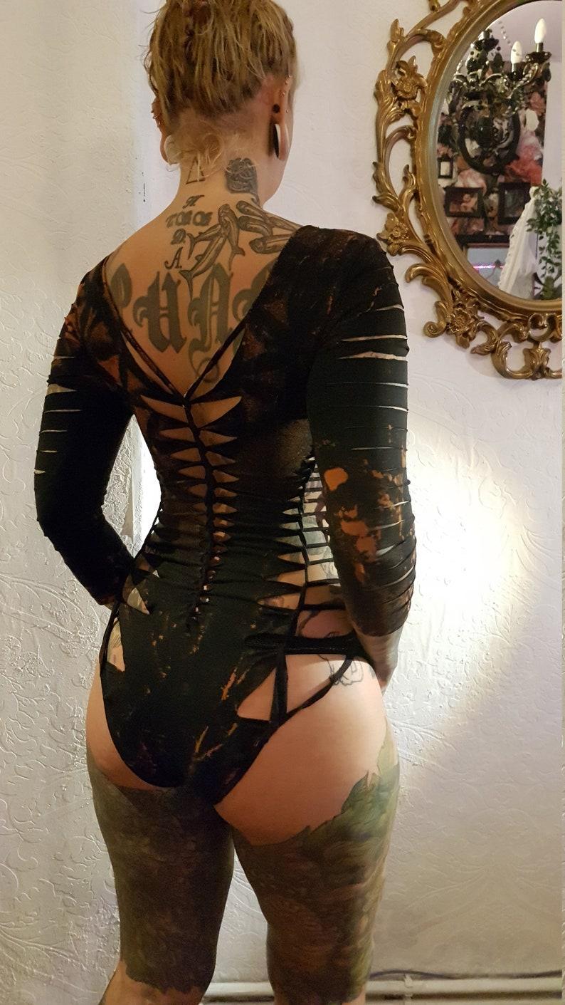 ML black leotard bodysuit body catsuit cutouts cut out goa pixie psy burning yoga ribbons lacing tattoo knotted liflower geometric