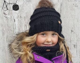 COMMANDE PERSONNALISÉE , Ensemble tuque avec cache-oreilles et cache-cou,  tricot, pompon fourrure, bébé, enfant, adulte fa1c4823128