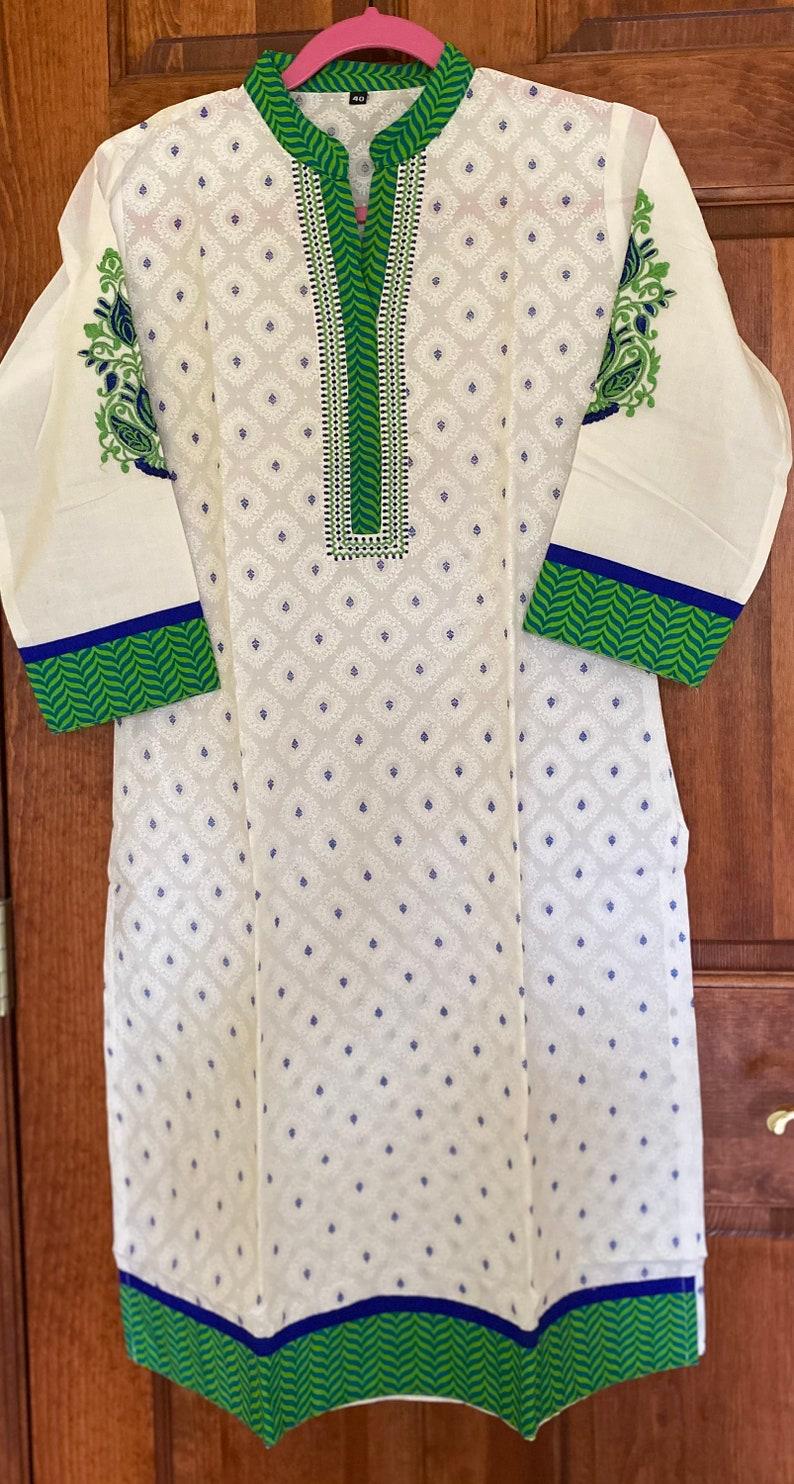 40 M | Same Day Shipping GreenBlue BlockPrint Embroidered Kurtis |Long Cotton Kurtis for women |Indian tunics| Collar Kurtis - XL 44